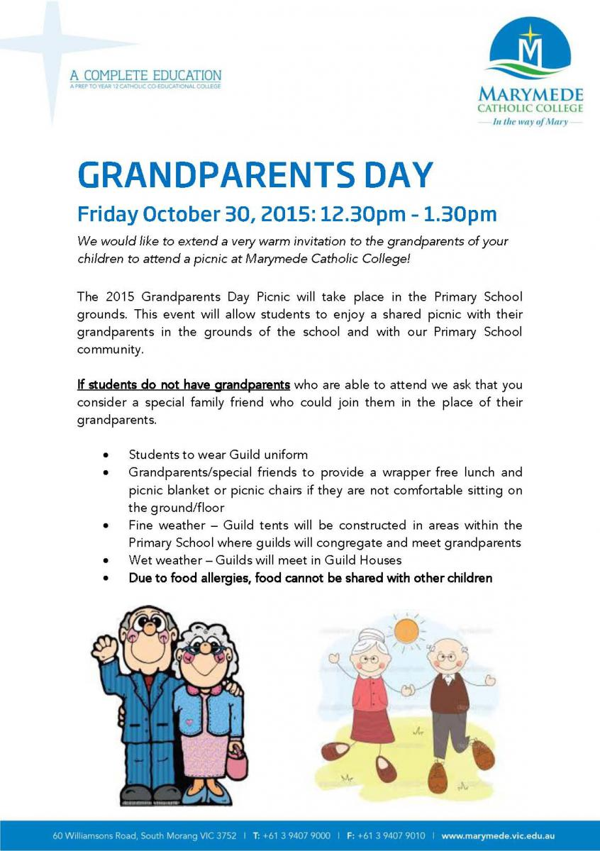Grandparents Day/Special Friends 2015 | Marymede Catholic